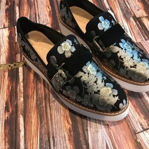 Zara black floral wedge Slip On Shoes !